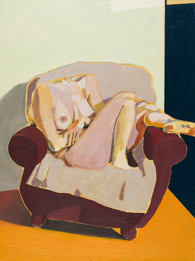Headless Nude (Seated, Grey/Dark Blue/ Orange), 2015, oil on linen on board, 16 x 12in