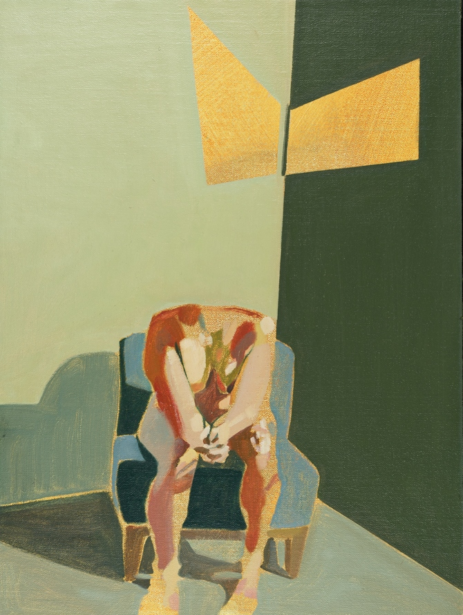 Headless Nude (Seated, Green, Yellow Light), 2015, oil on linen on board, 16 x 12in
