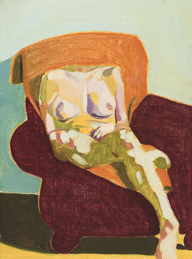 Headless Nude (Seated, Pale Blue/Orange/Maroon), 2015, oil on linen on board, 8 x 6in