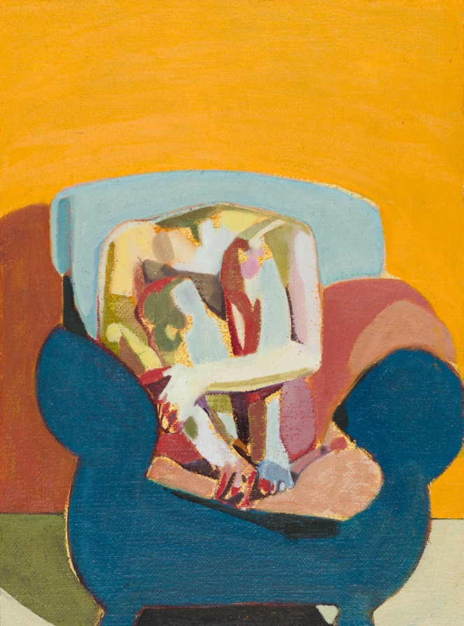 Headless Nude (Seated, Orange/Pale Blue/Blue), 2015, oil on linen on board, 8 x 6in