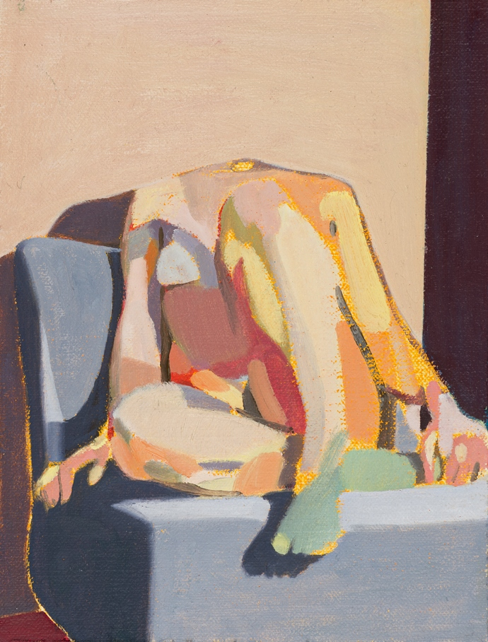 Headless Nude (Seated, Pale Pink/ Purple/Pale Blue), 2015, oil on linen on board, 8 x 6in