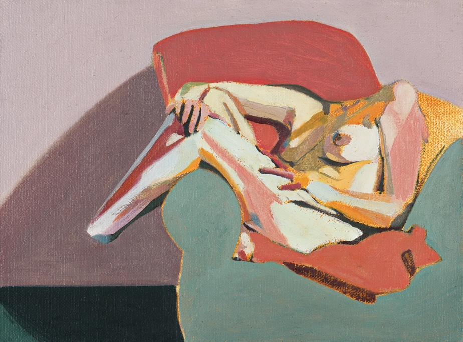 Headless Nude (Seated, Pale Pink/ Coral/Pale Blue), 2015, oil on linen on board, 6 x 8in