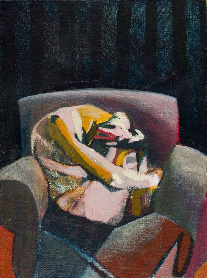 Headless Nude (Seated, Black Stripes), 2014-15, oil on linen on board, 8 x 6in