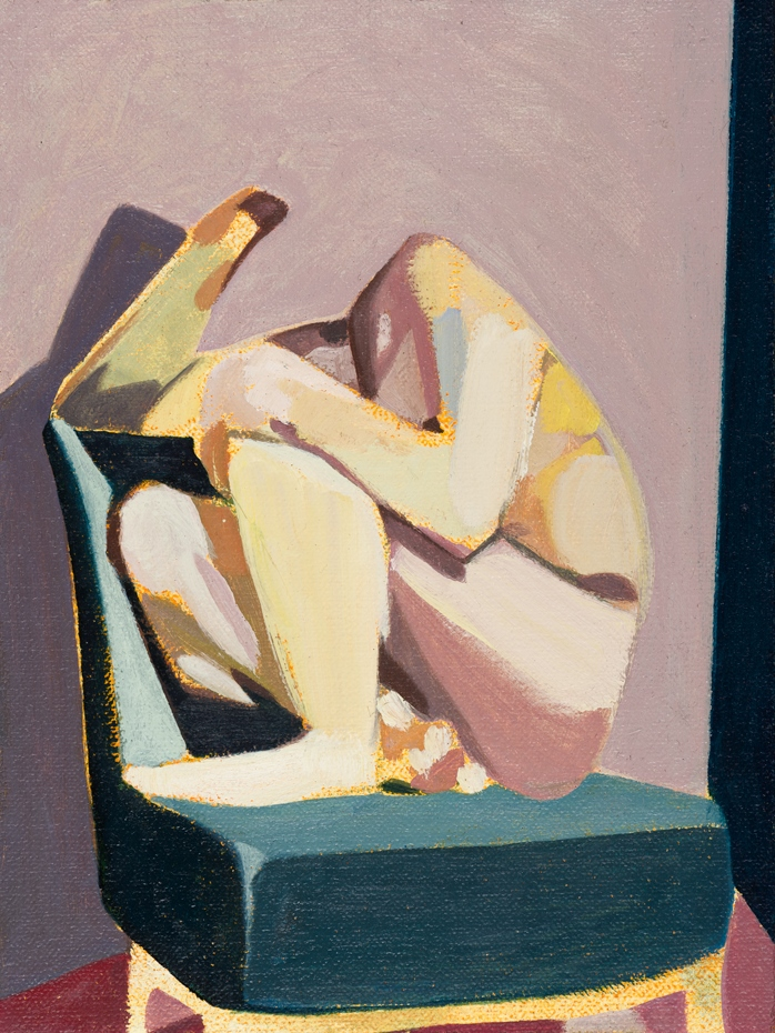 Headless Nude (Seated, Pale Pink/Dark Blue), 2015, oil on linen on board, 8 x 6in