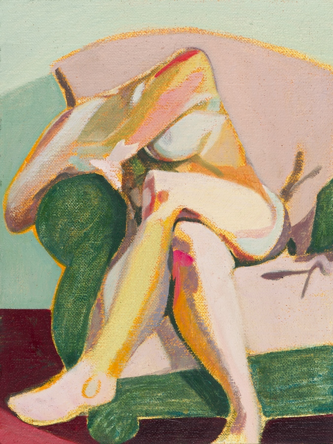 Headless Nude (Seated, Pale Pink/Green), 2015, oil on linen on board, 8 x 6in