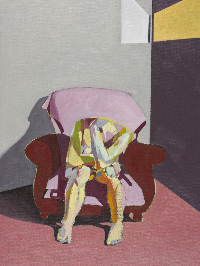 Headless Nude (Seated, Grey/Purple, Yellow Light), 2015, oil on linen on board, 16 x 12in