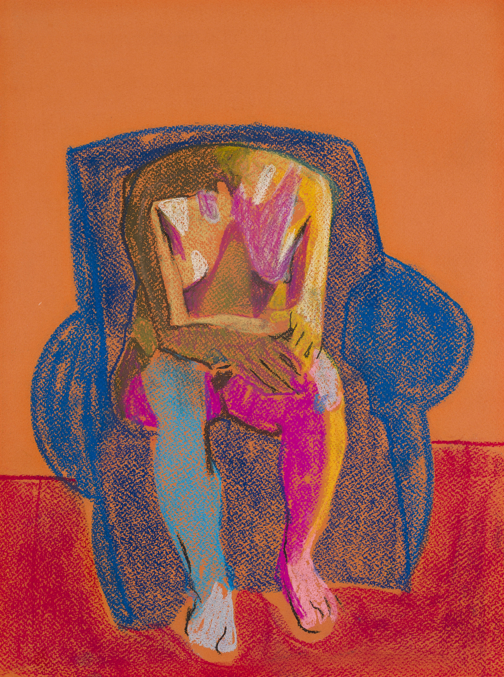Headless Nude (Seated, Orange/Blue/Red), 2015, pastel on paper, 16 x 12in