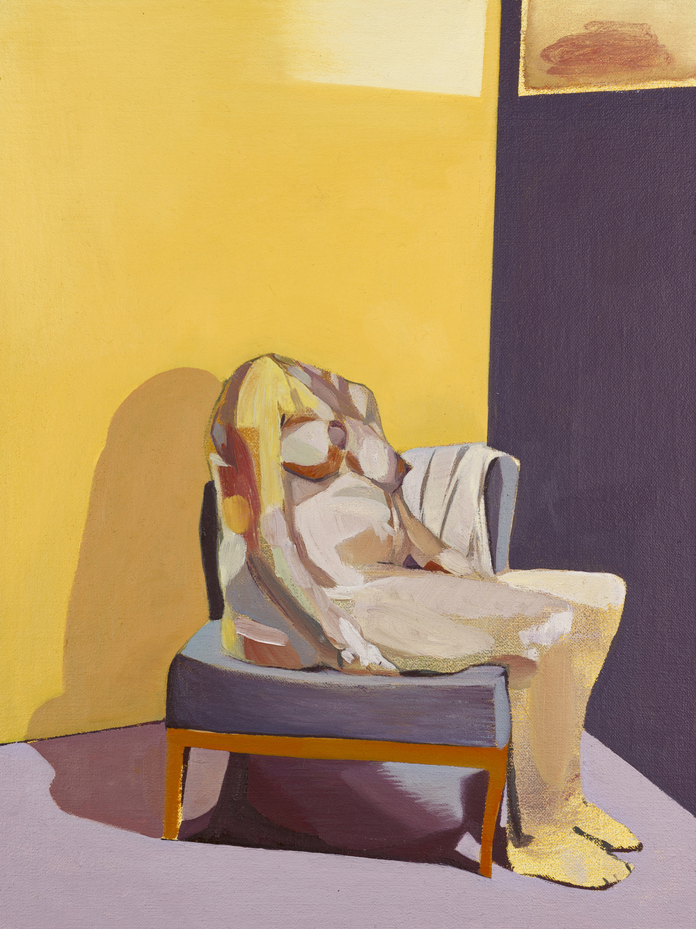 Headless Nude (Seated, Pregnant), 2015, oil on linen on board, 16 x 12in