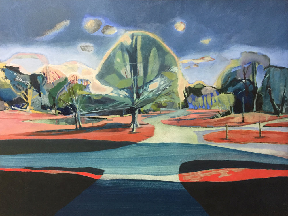 Crystal Palace Park, 2017, oil on gesso panel, 27.9 x 35.6cm.