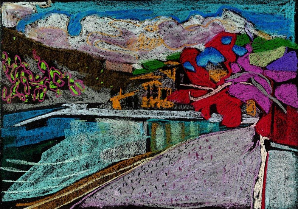 Assos, Kefalonia, pastel on paper, 2017, 29.7 x 42cm.