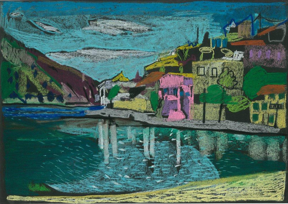 Assos, Kefalonia 3, 2017, pastel on paper, 29.7 x 42cm.