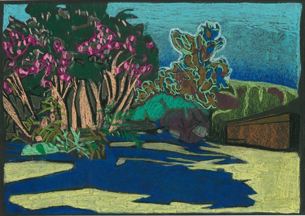 Assos, Kefalonia 4, 2017, pastel on paper, 29.7 x 42cm.