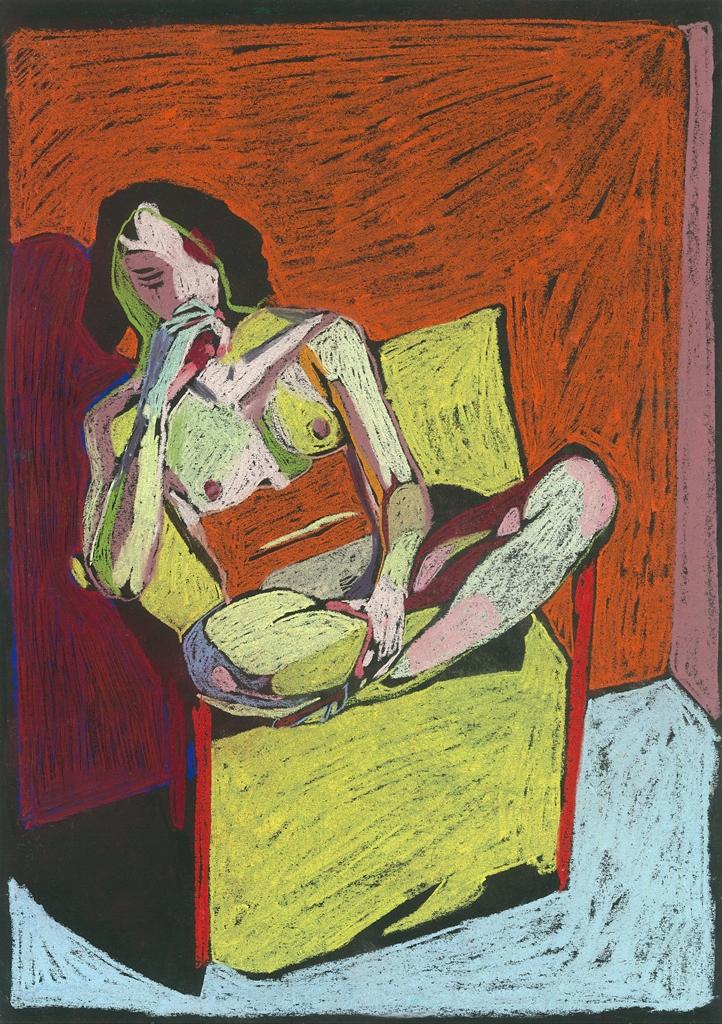 Nude on Black 4, 2017, pastel on paper, 42 x 29.7cm.