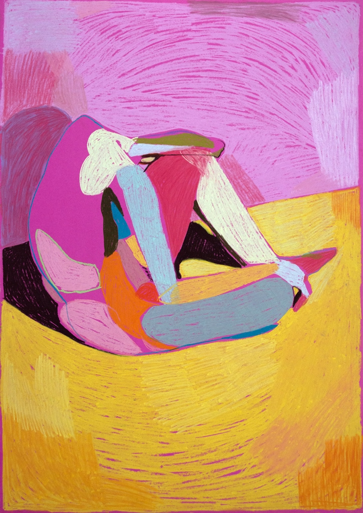 'Nude on Pink', 2018, pastel, 84 x 59.4cm, SOLD  Available as a limited edition print from  Liberty London
