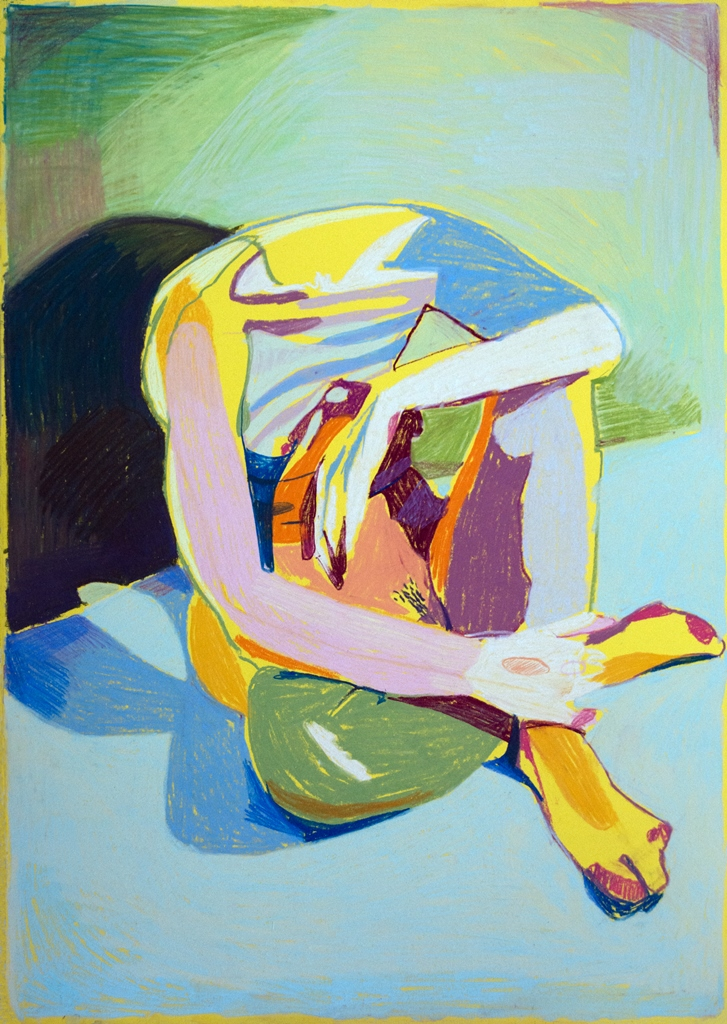 'Nude on Yellow', 2018, pastel, 59.4 x 42cm, SOLD