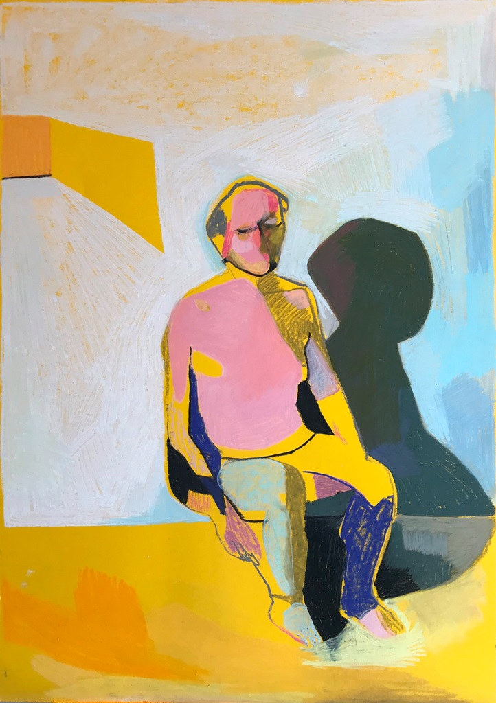 Seated Nude on Yellow, 2017-18, pastel, 84 x 59.4cm, SOLD