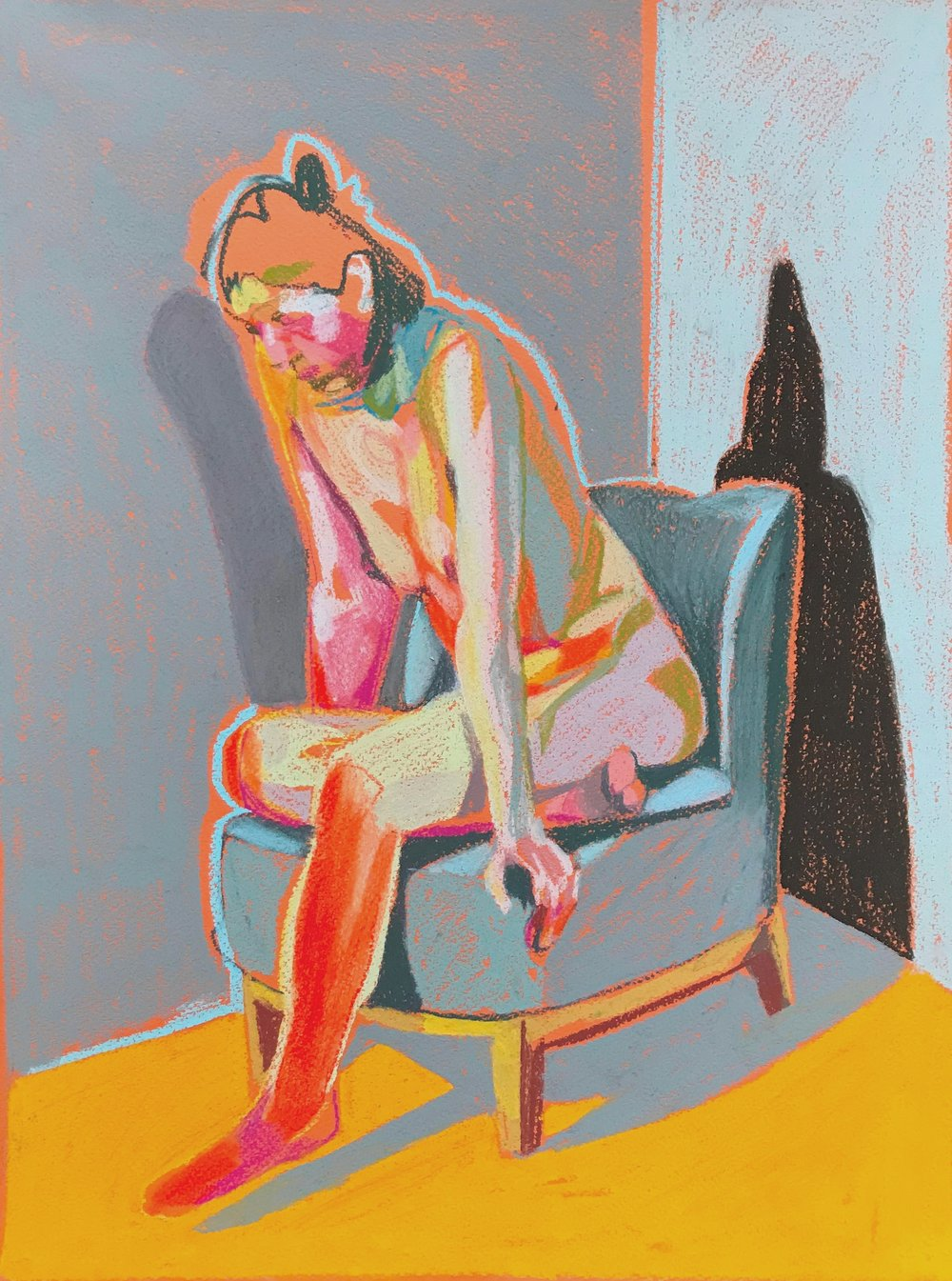 'Seated Nude on Orange', 2018, pastel, 16 x 12in, SOLD  Available from  Partnership Editions