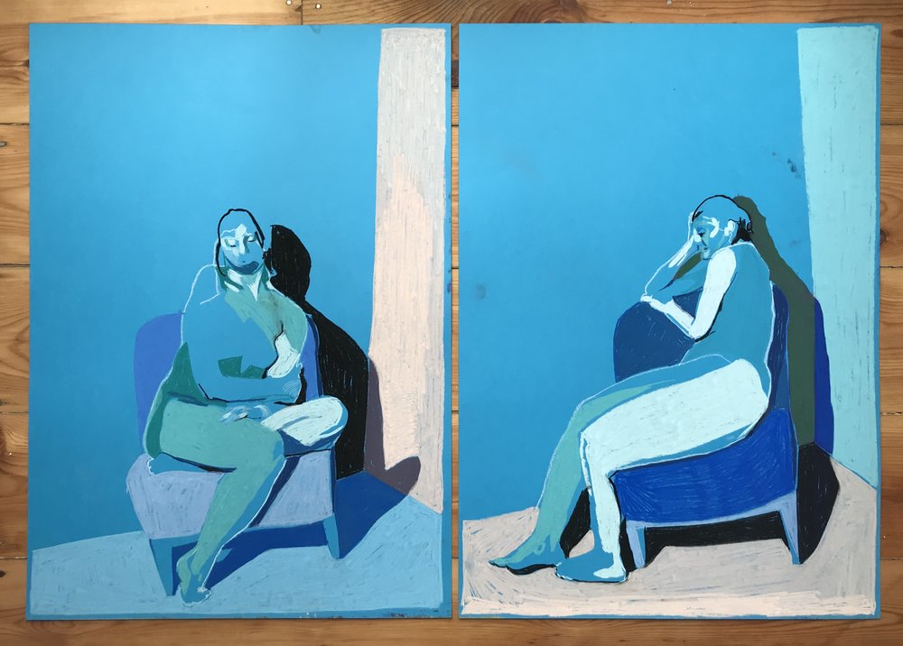 'Sequence of two nudes on blue with pink', 2018, pastel, 59.4 x 42cm each, SOLD