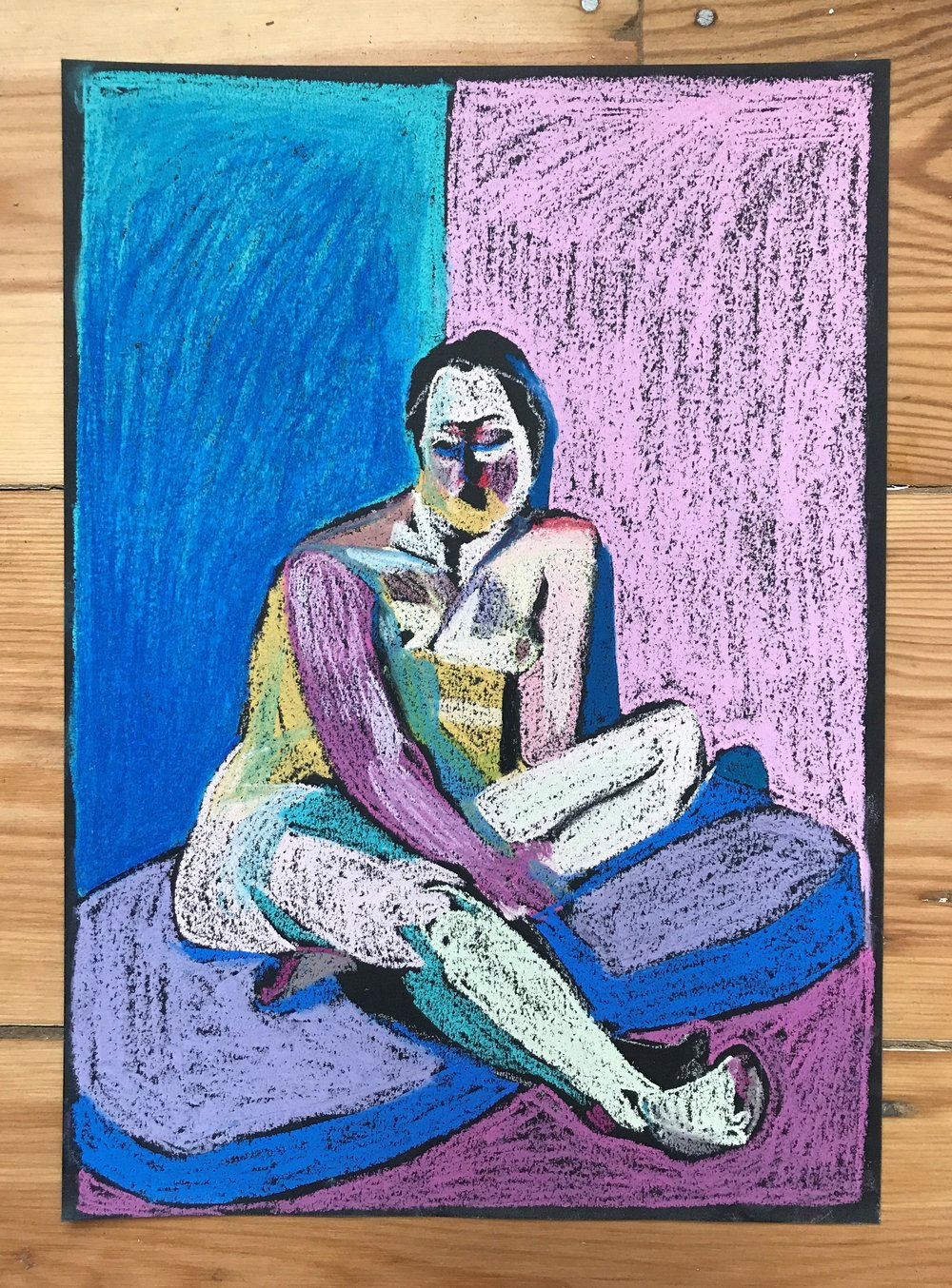 'Nude on black with purple floor', 2018, pastel, 29.6 x 21cm  Available from  Partnership Editions