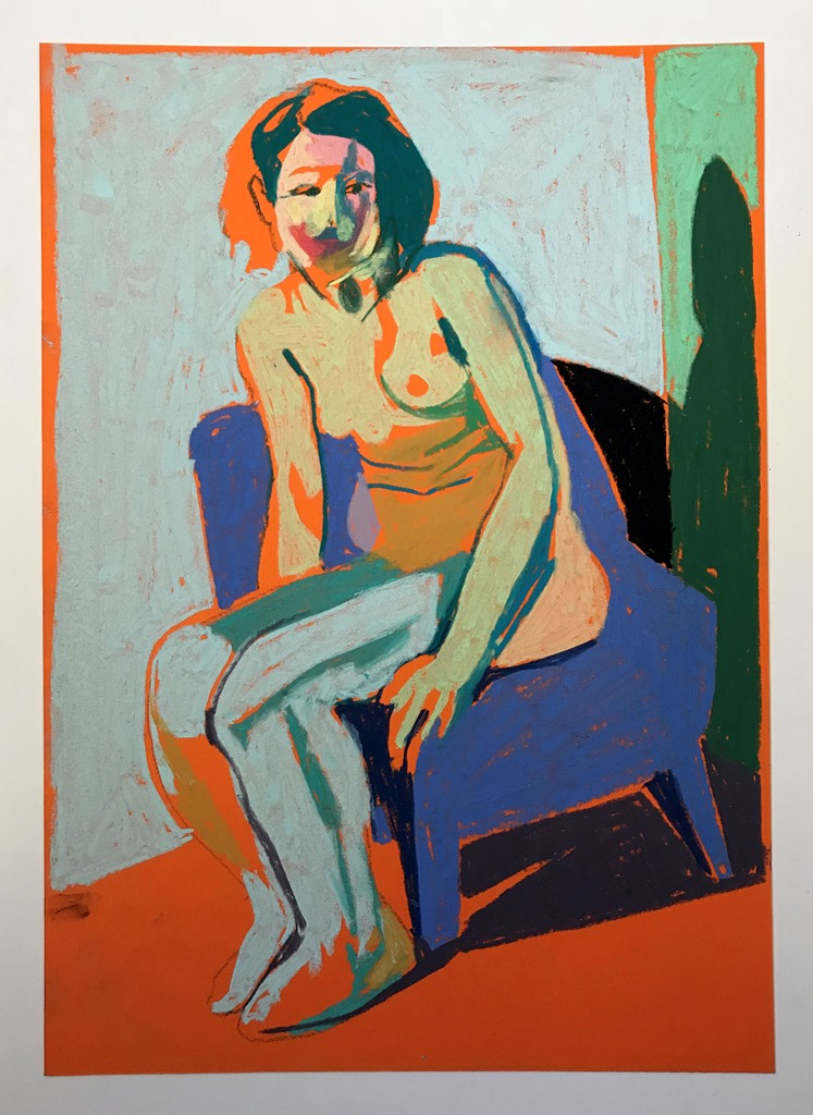 'Nude on orange with mauve chair', 2018, pastel, 29.7 x 21cm, SOLD