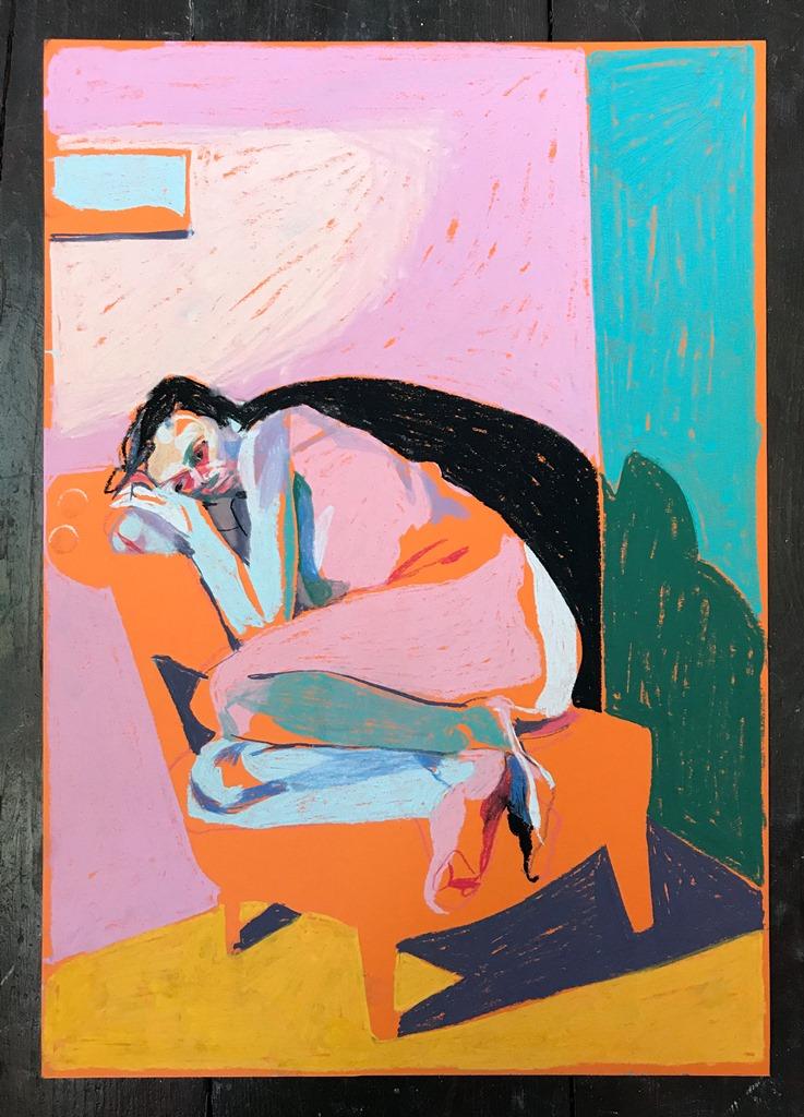 'Nude on orange with window', 2018, pastel, 42 x 39.7cm, SOLD