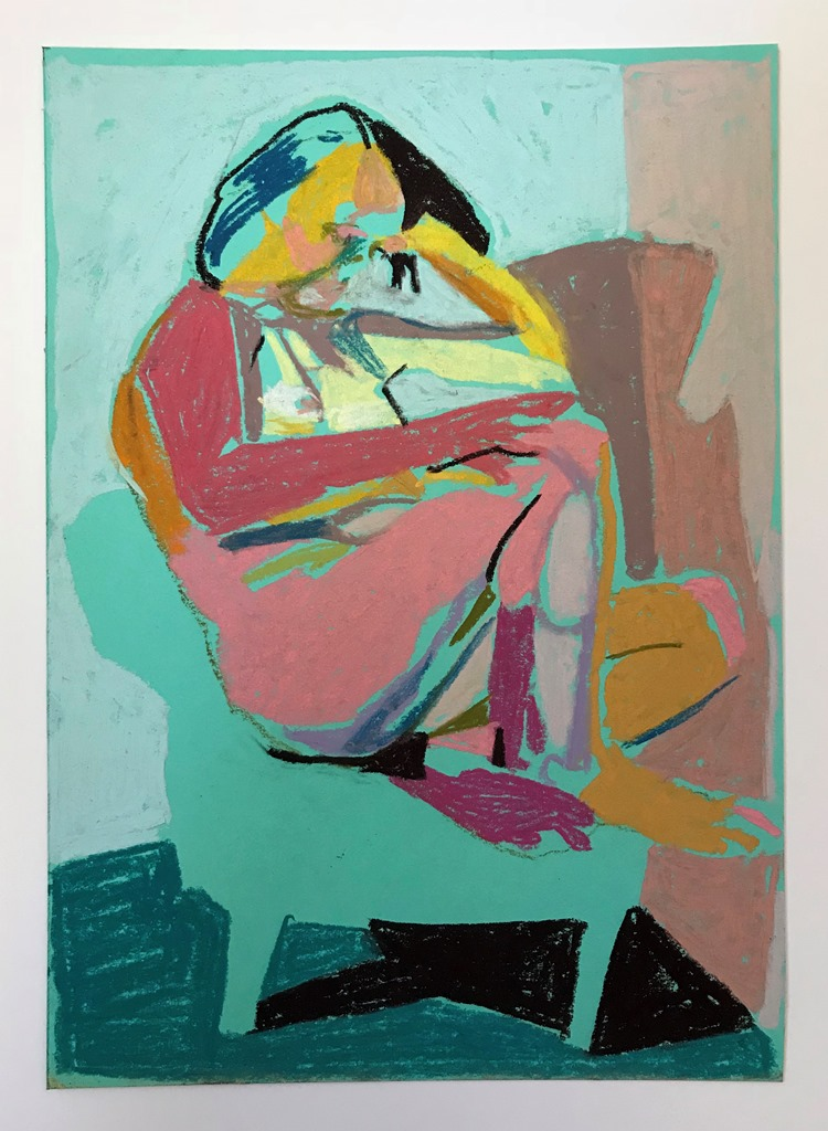 'Nude on turquoise with dark turquoise floor', 2018, pastel, 21 x 15cm, SOLD