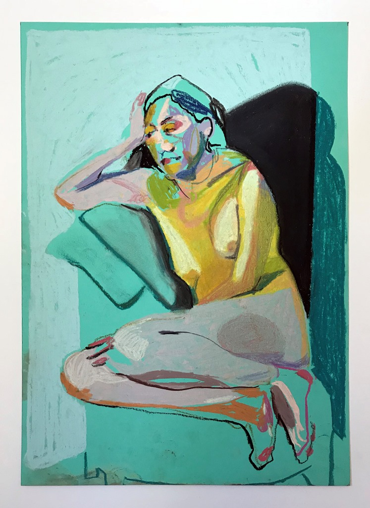 'Nude on turquoise with pale blue wall', 2018, pastel, 29.6 x 21cm, SOLD