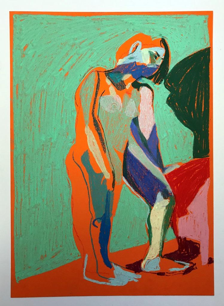 'Standing nude on orange', 2018, pastel, 29.7 x 21cm, SOLD