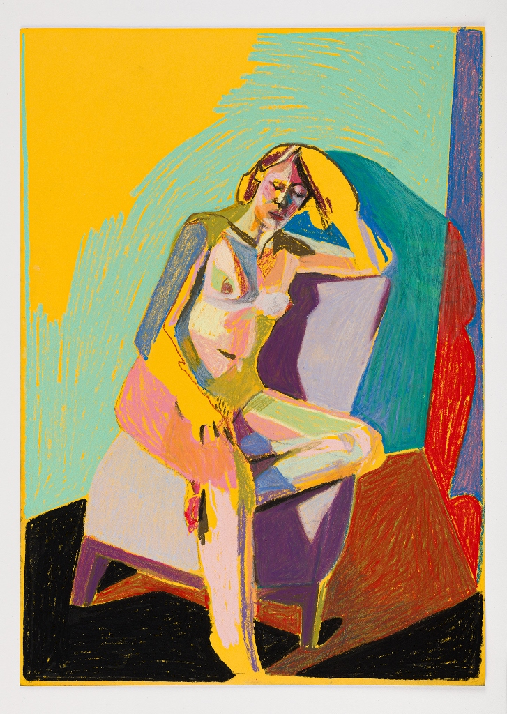'Nude on yellow with red shadow', 2018, pastel, 42 x 29.7cm, SOLD  Available as a limited edition print from  Liberty London