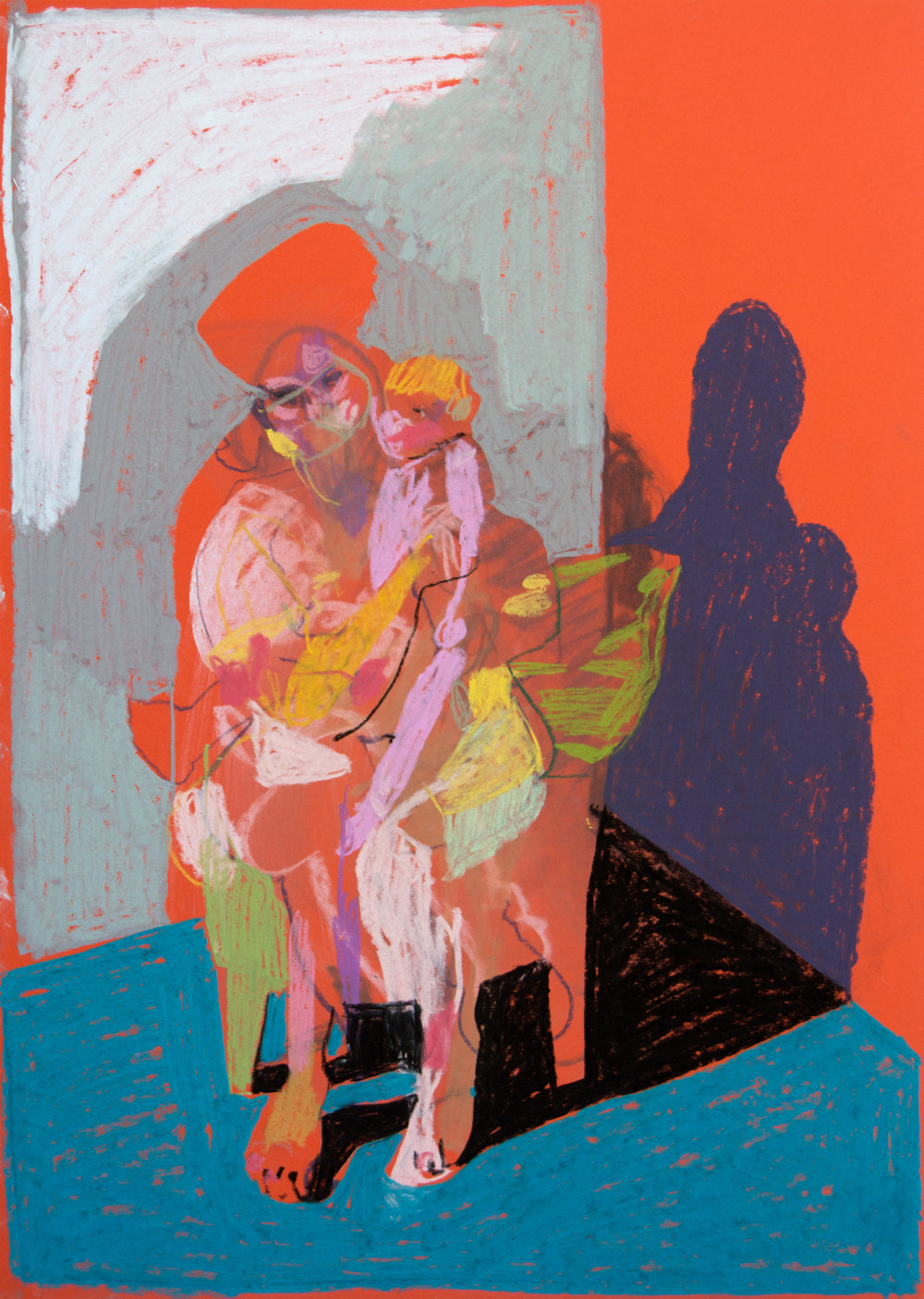 'Mother, model and child on orange with blue ground', 2018, pastel, 42 x 29.7cm, SOLD