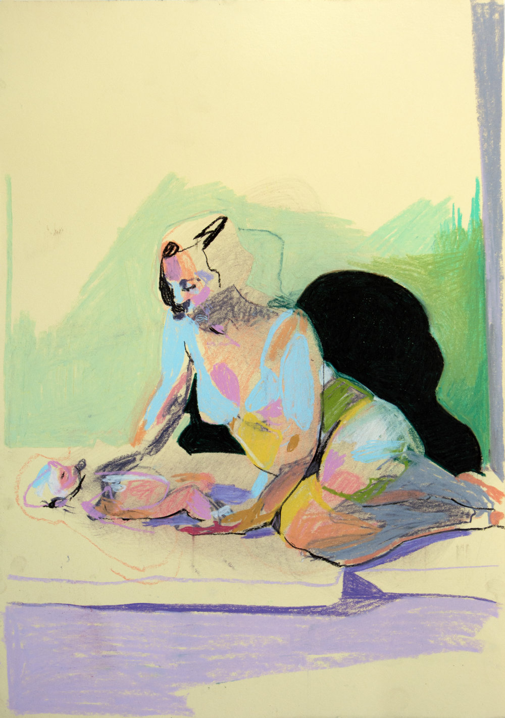 'Mother, model and child on pale yellow with purple ground', 2018, pastel, 42 x 29.7cm, £450    Available from  Partnership Editions