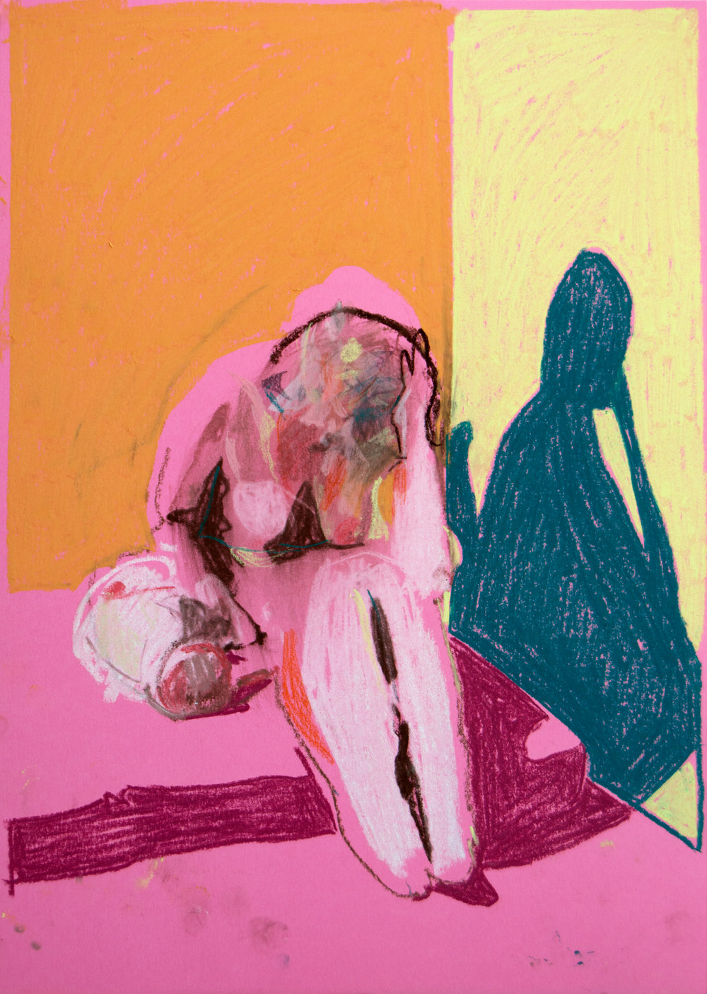 'Mother, model and child on pink with orange wall', 2018, pastel, 42 x 29.7cm, £450  Available from  Partnership Editions