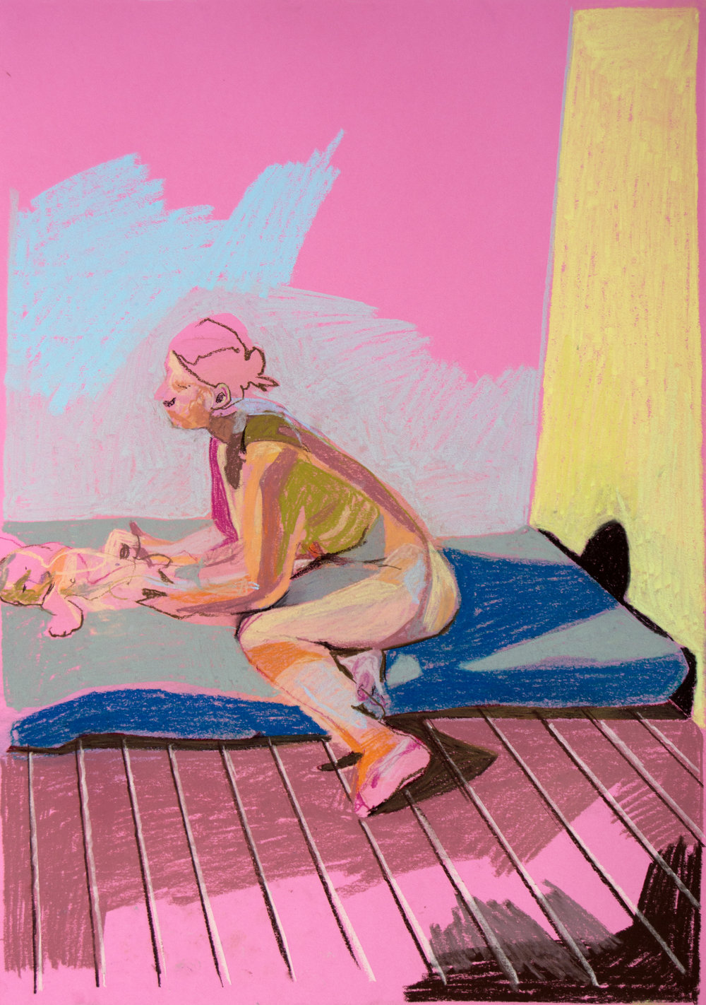 'Mother, model and child on pink with yellow wall', 2018, pastel, 59.3 x 42cm, £590  Available from  Partnership Editions