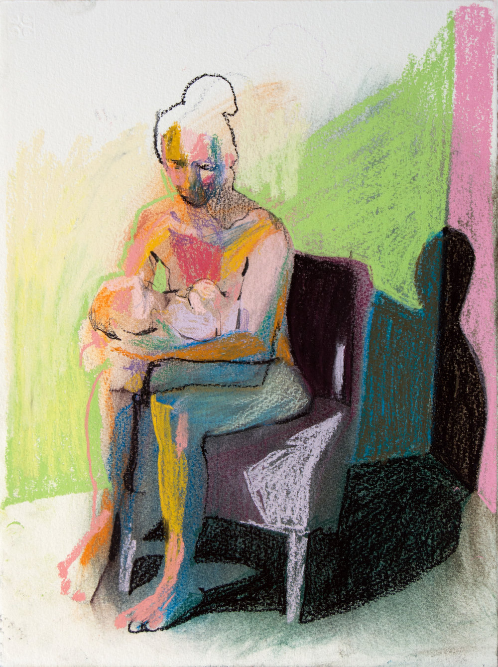 Mother, model and child on white with green wall', 2018, pastel, 38 x 28.3cm, SOLD