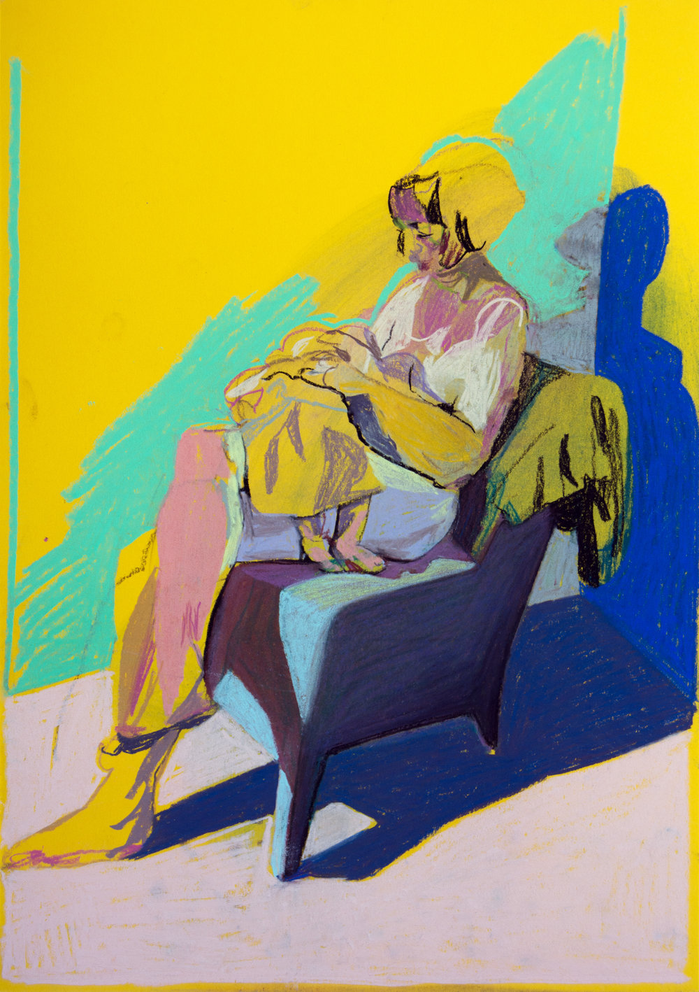 'Mother, model and child on yellow with purple shadow', 2018, pastel, 42 x 29.7cm, £450    Available from  Partnership Editions