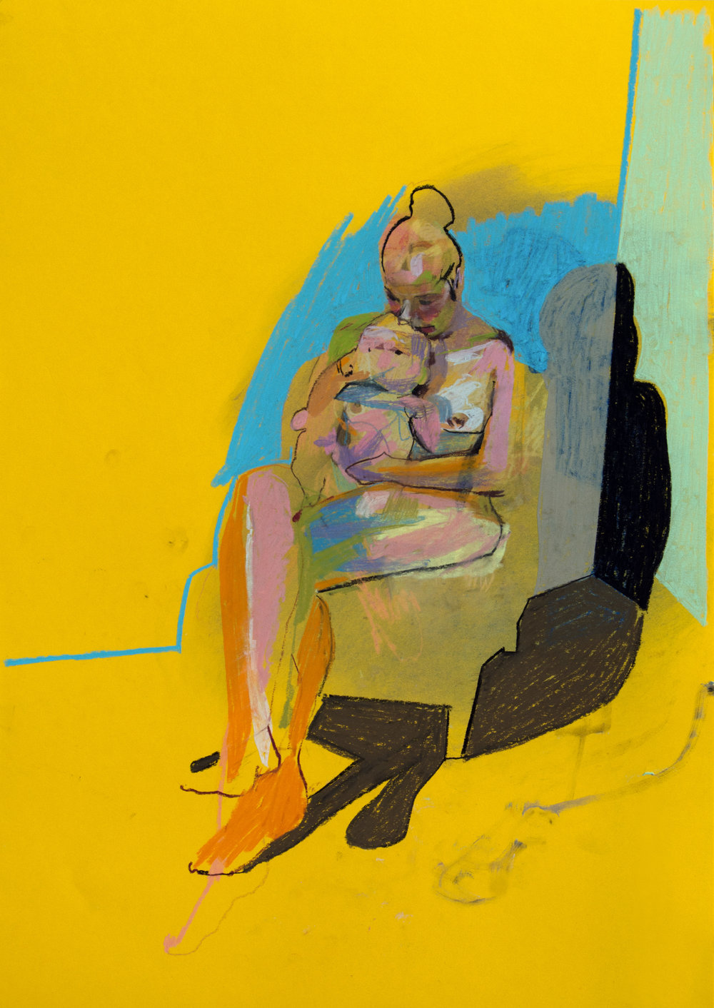 'Mother, model and child on yellow with blue wall', 2018, pastel, 59.3 x 42cm, SOLD