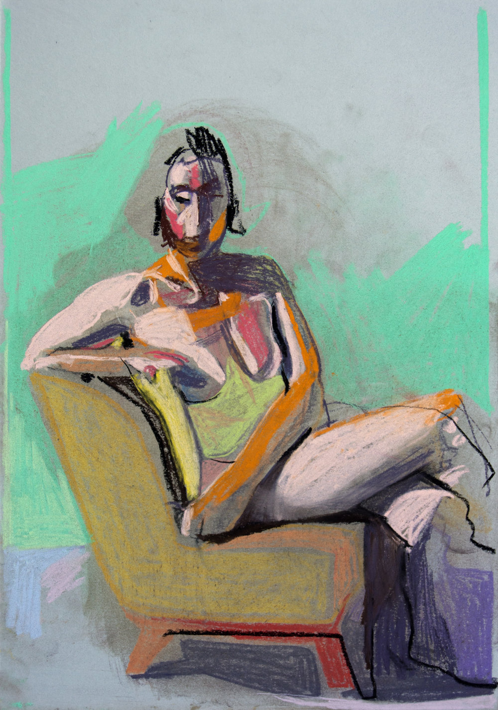 'Nude on grey with green wall', 2018, pastel, 29.8 x 20.8cm, SOLD