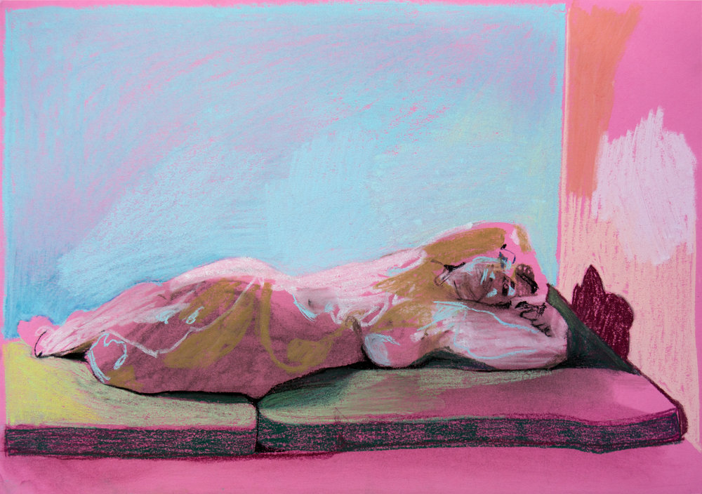 'Reclining nude on pink', 2018, pastel, 29.5 x 42cm, £450    Available from  Partnership Editions