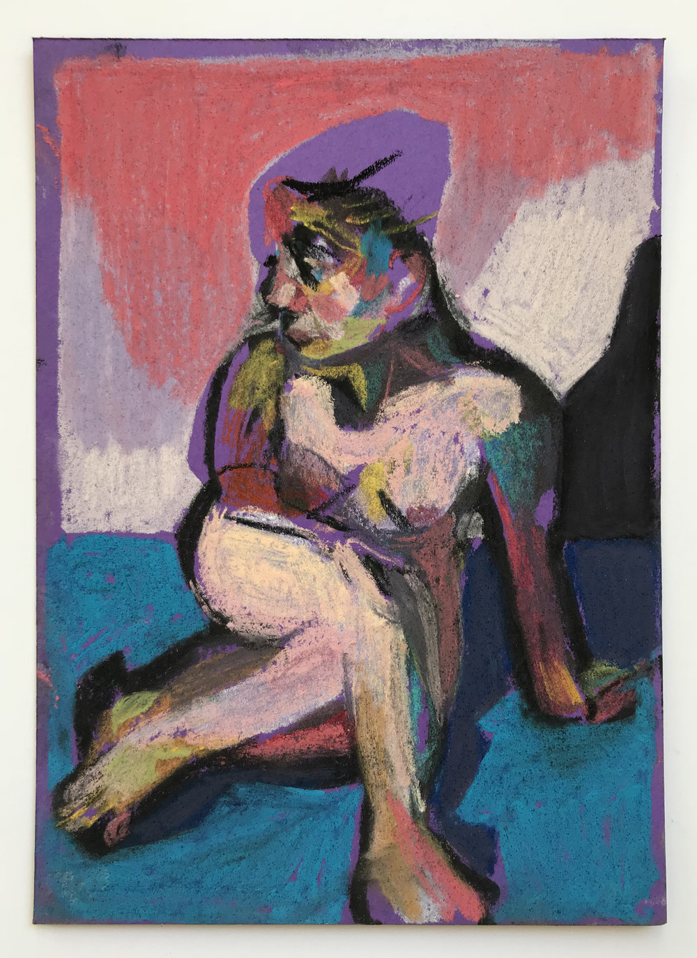 'Nude on purple with blue ground', 2018, pastel, 14.8 x 10.5cm, SOLD