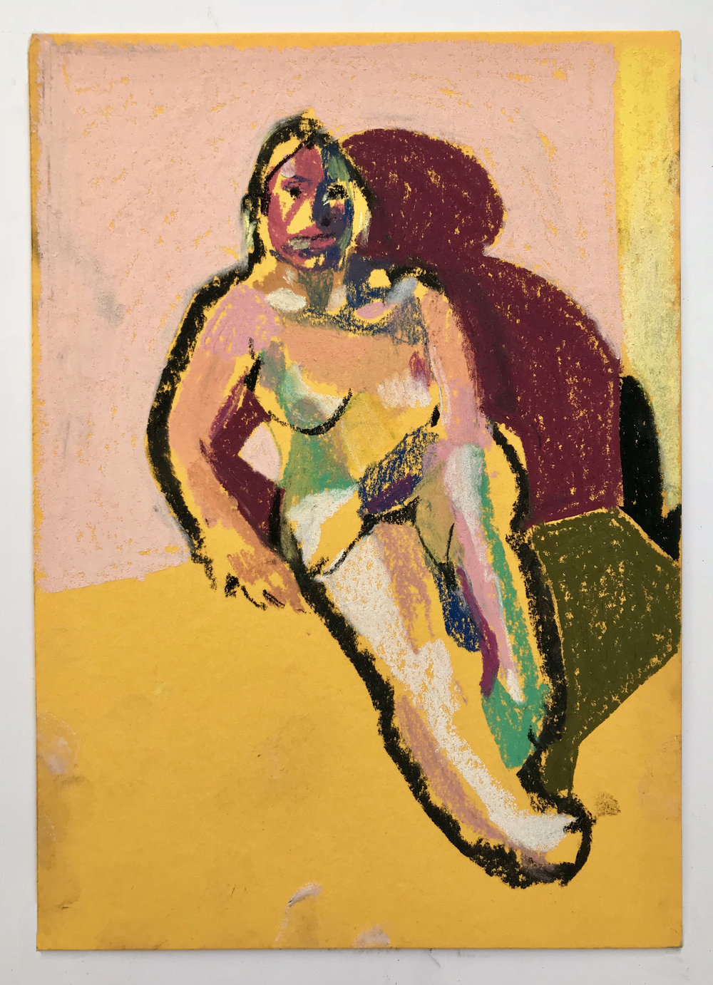 'Nude on yellow with pale pink wall', 2018, pastel, 21 x 14.8cm, SOLD