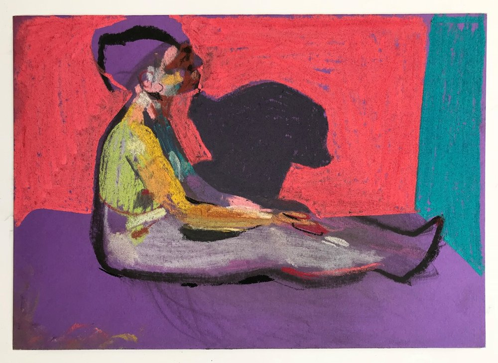 'Nude on purple with pink wall', 2018, pastel on paper, 14.8 x 21cm, SOLD