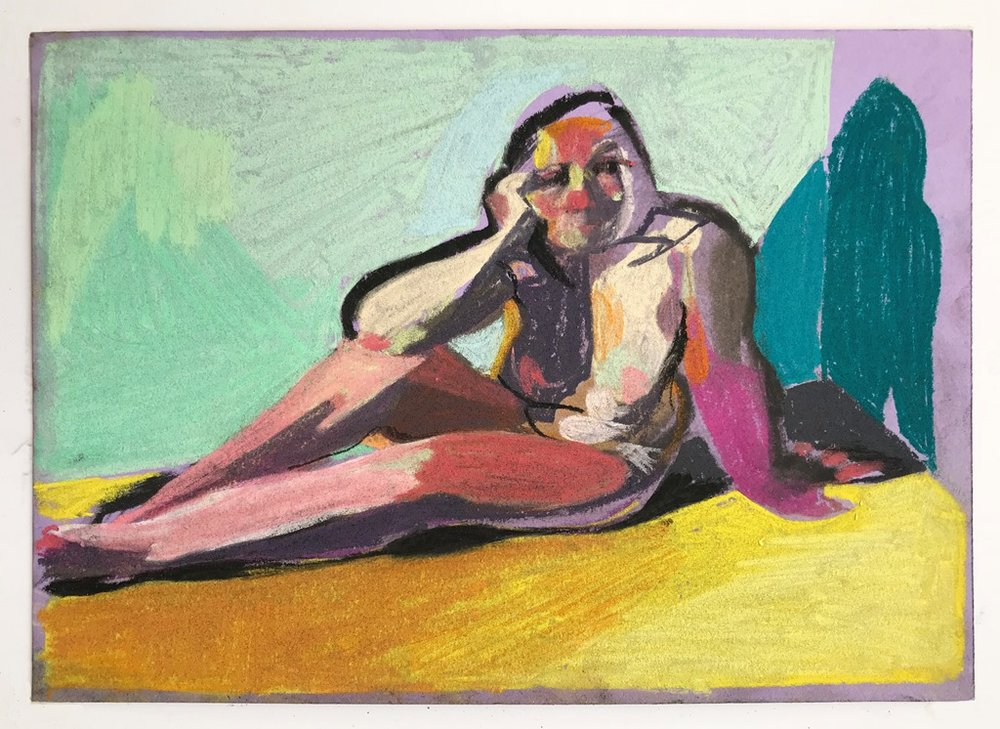 'Nude on purple with yellow ground', 2018, pastel on paper, 14.8 x 21cm, £336 (framed)  Available from  Partnership Editions