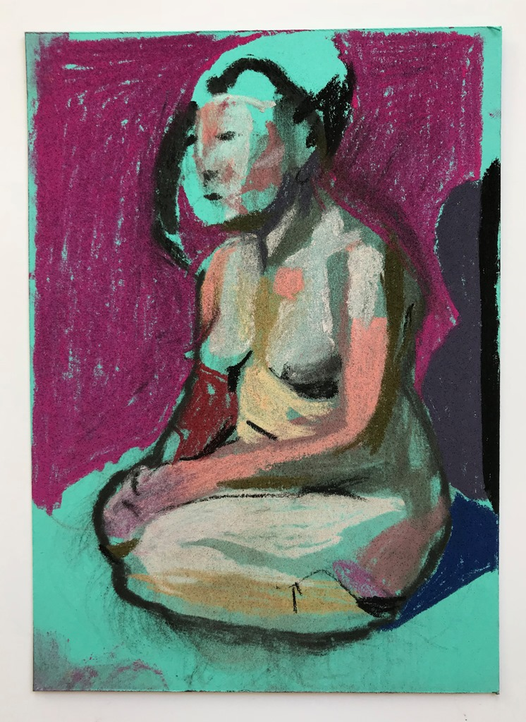 'Nude on turquoise with pink wall', 2018, pastel on paper, 14.8 x 10.5cm, SOLD