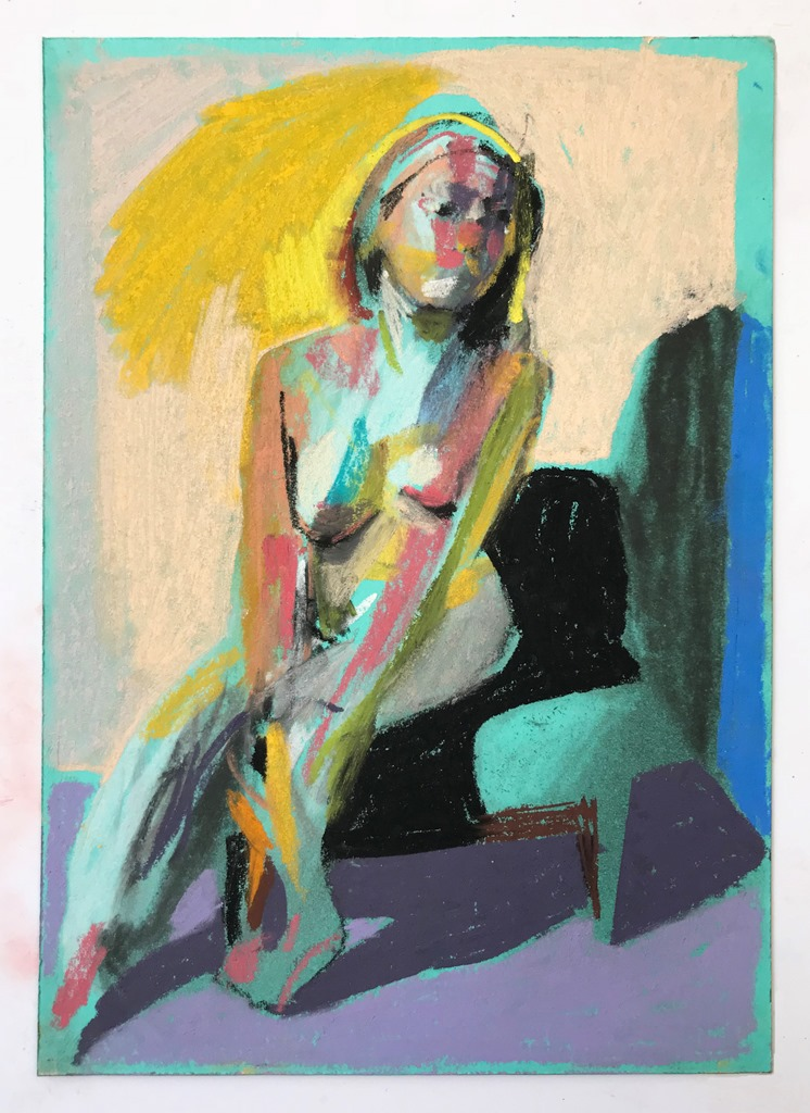 'Nude on turquoise with purple shadow', 2018, pastel on paper, 14.8 x 10.5cm, SOLD