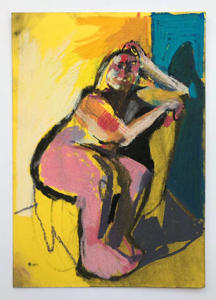 'Nude on yellow with blue wall', 2018, pastel on paper, 14.8 x 10.5cm, SOLD