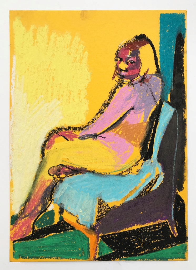 'Nude on yellow with green ground', 2018, pastel on paper, 21 x 14.8cm, SOLD