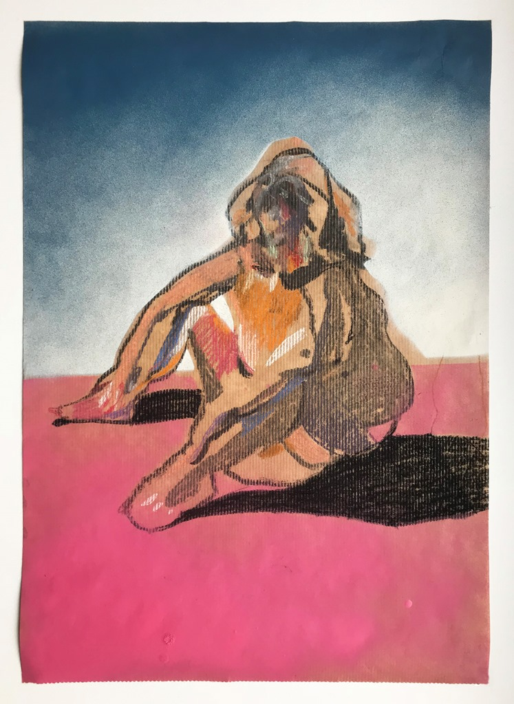 'Nude on brown with pink ground', 2018, chalk, charcoal, pastel and spray paint on paper, 50 x 35cm, £520  Available from  Partnership Editions