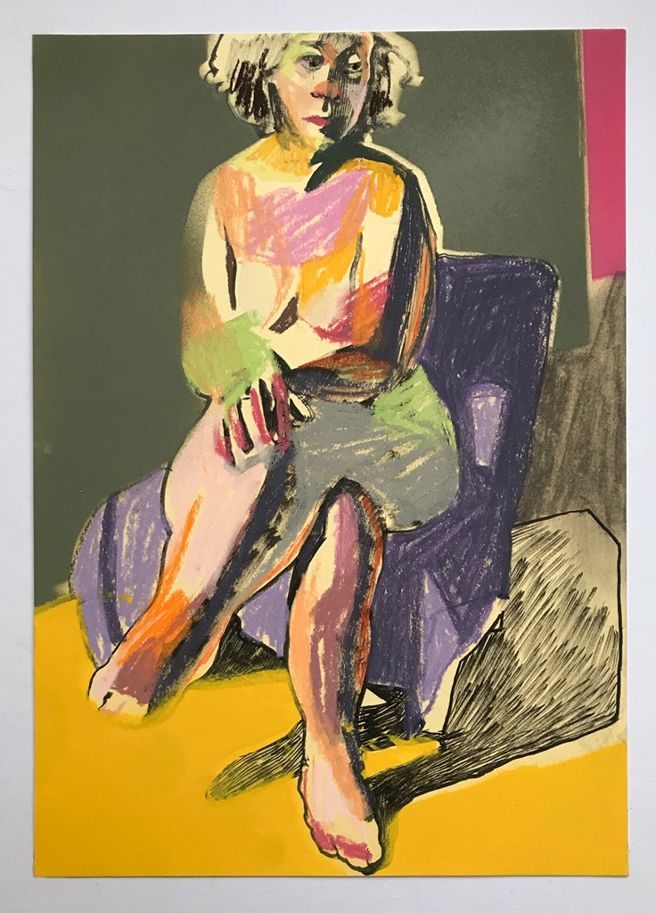 Nude on cream with yellow ground', 2018, pastel, charcoal, ink, spray paint, 29.7 x 21cm, SOLD