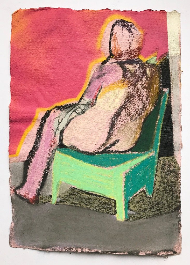 'Nude on pink with turquoise chair', 2018, paint, charcoal and spray paint, 29.5 x 20.7cm, SOLD