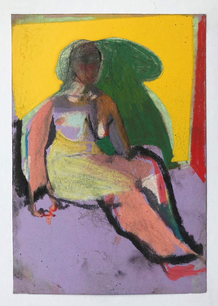 'Nude on purple with yellow wall', 2018, charcoal, pastel and spray paint on paper, 14.8 x 10.5 cm, £250  Available from  Partnership Editions